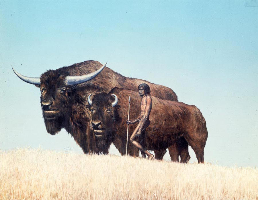 Bison with Early Man by April Lawton