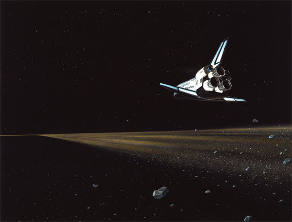 Saturn Ring and Space Shuttle by April Lawton