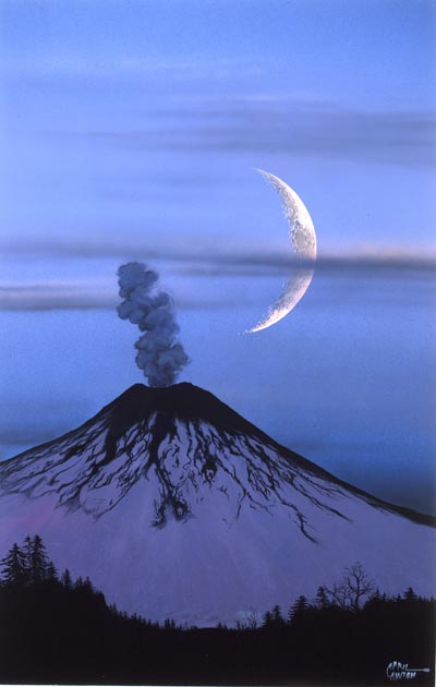 Volcano and Crescent Moon by April Lawton